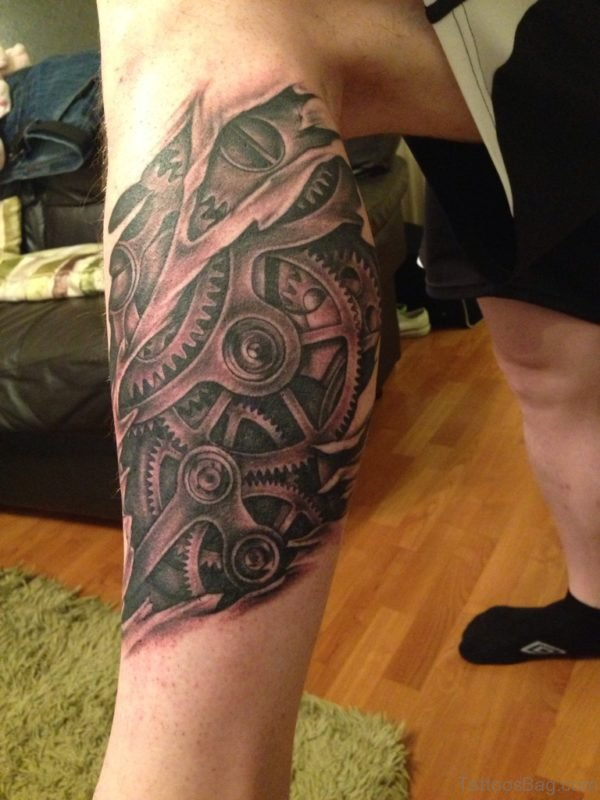 Nice Mechanical Tattoo On Leg