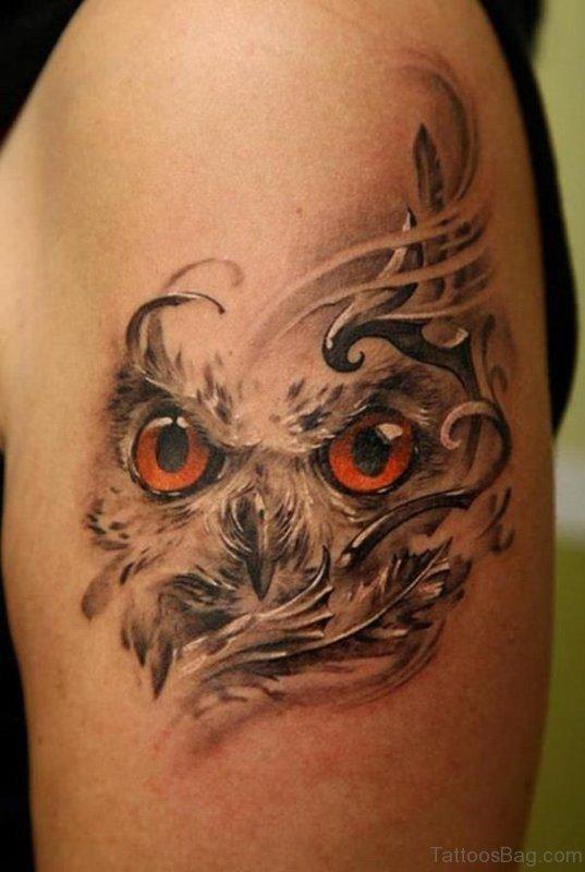 Nice Owl Face Tattoo