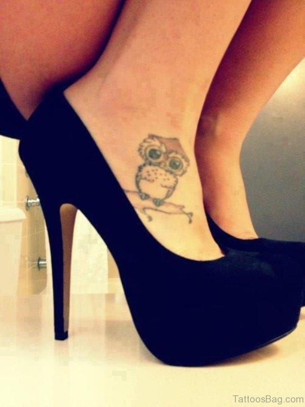 Nice Owl Tattoo On Foot