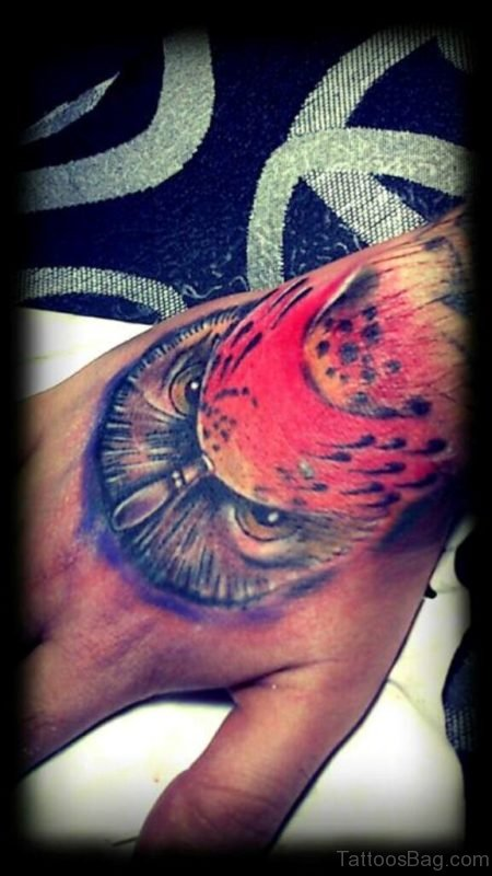 Nice Owl Tattoo On Hand