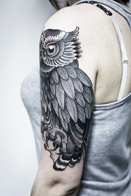 Nice Owl Tattoo On Shoulder