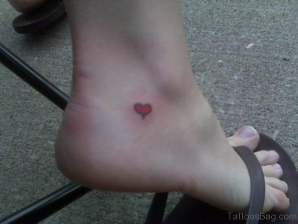 Nice Red Heart Tattoo On Ankle
