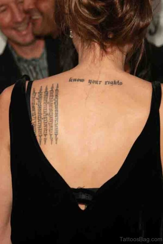 Nice Roman Tattoo On Shoulder Back
