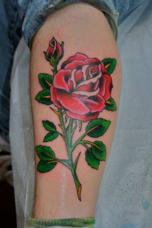 Nice Rose Tattoo On Leg
