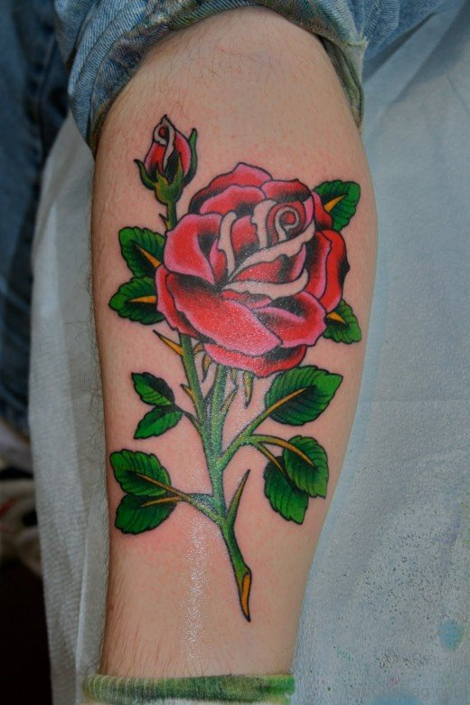 Nice Rose Tattoo On Leg