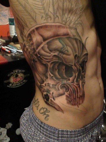 Nice Skull Tattoo On Rib