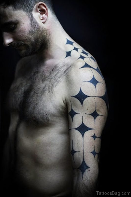 Nice Star Shoulder Tattoo Design