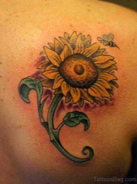 Nice Sunflower Tattoo On Back