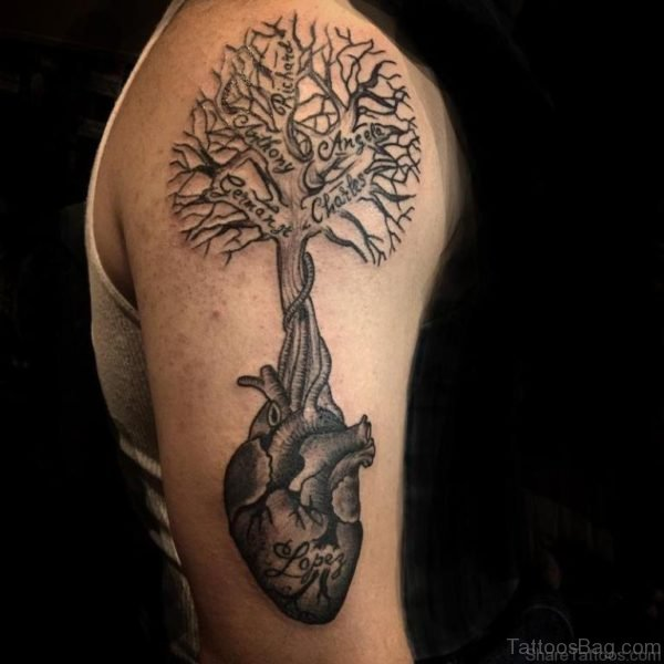 Nice Tree Tattoo Design On Shoulder