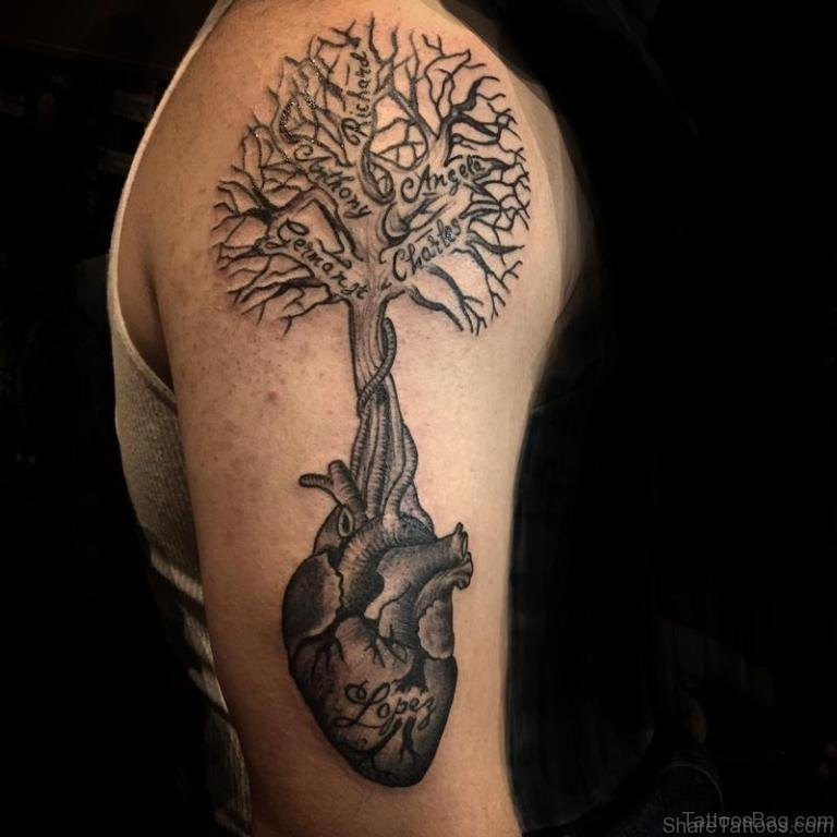 51 classic tree tattoos for shoulder for Apple tree tattoo designs