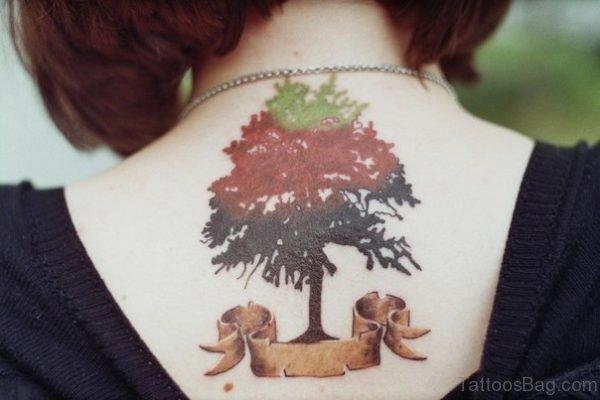 Nice Tree Tattoo On Neck