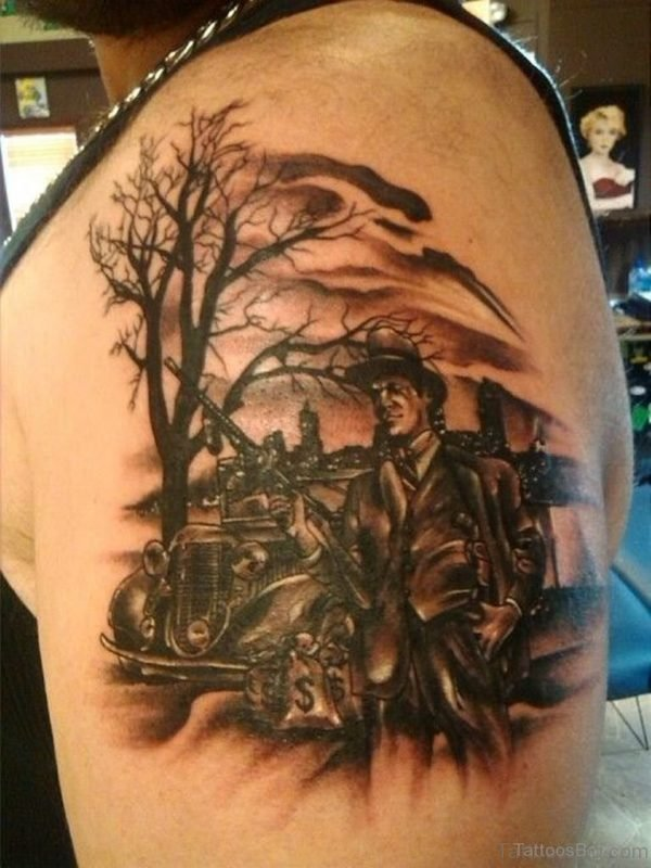 Nice Tree Tattoo On Shoulder