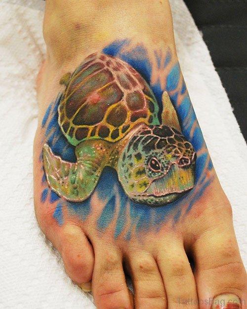 Nice Turtle Tattoo On Foot