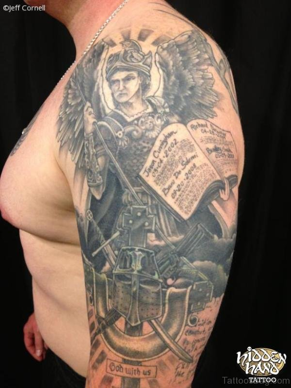 Nice Warrior Shoulder Tattoo