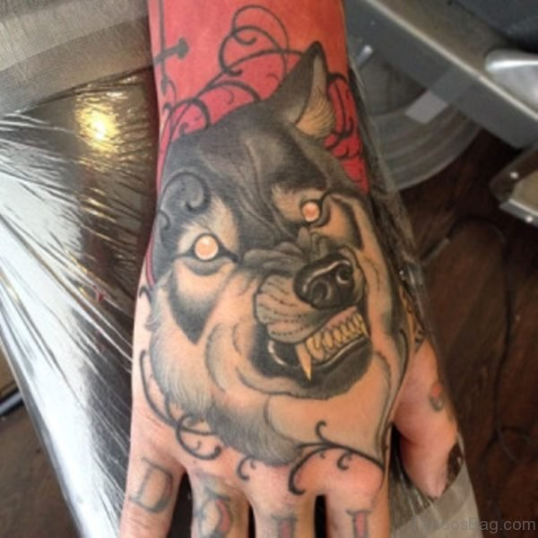 Nice Wolf Tattoo On Hand