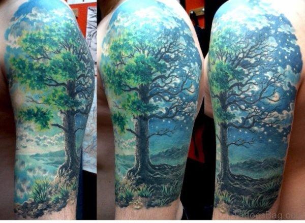 Night Tree Tattoo on Shoulder