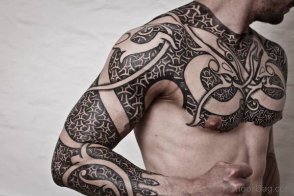 Nordic Tribal Shoulder Tattoo