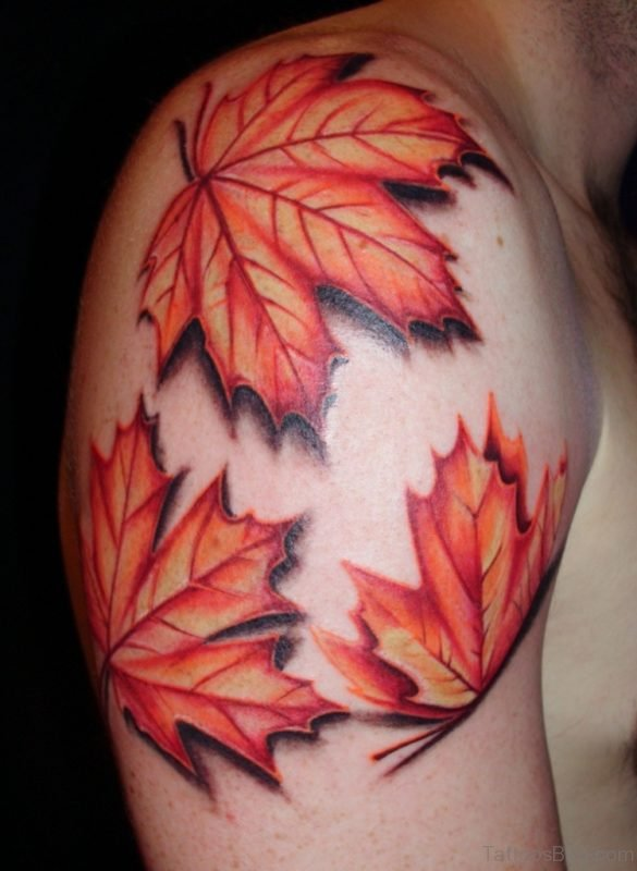 Oak Leaves Shoulder Tattoo