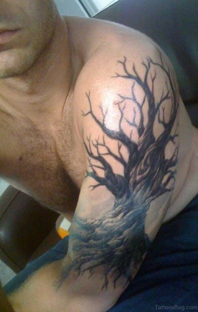 50 stylish tree tattoos on shoulder