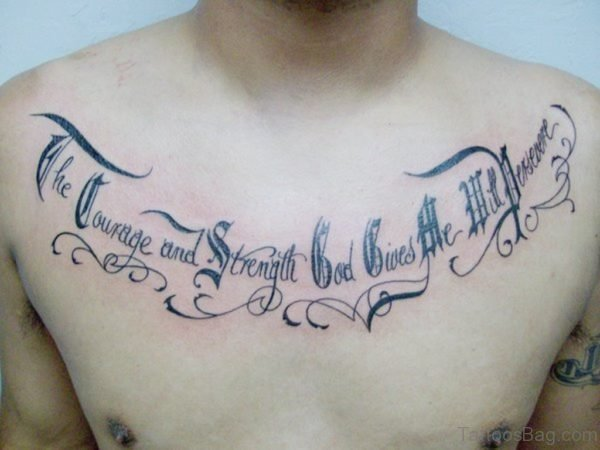 Old English Lettering Tattoo On Chest