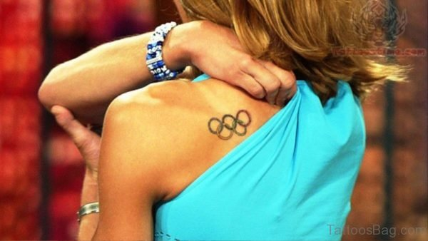 Olympic Rings Tattoo On Back Shoulder