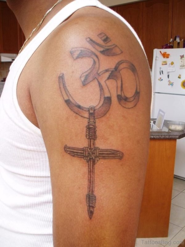 Om And Cross Tattoo On Shoulder