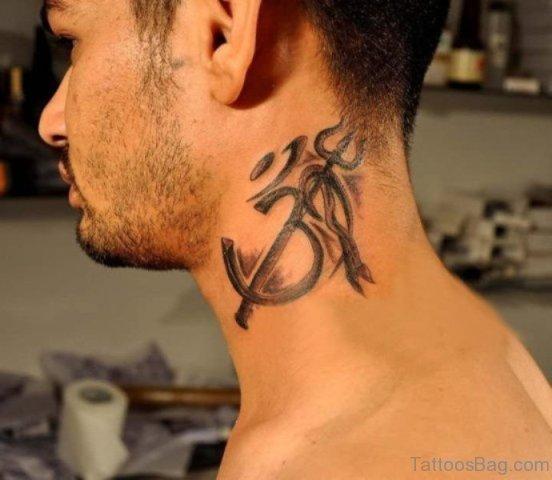 Om Tattoo On Neck
