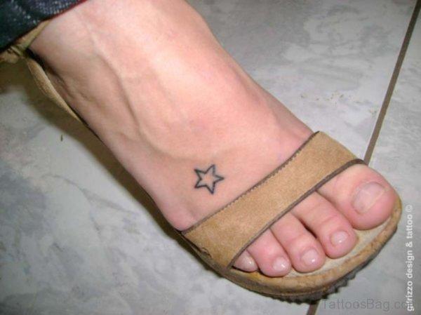 One Star Tattoo On Foot