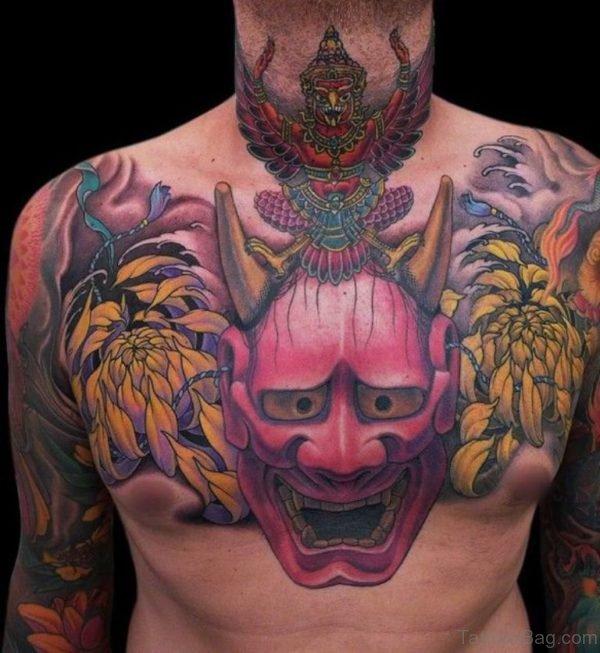 Oni Mask Chest Tattoo
