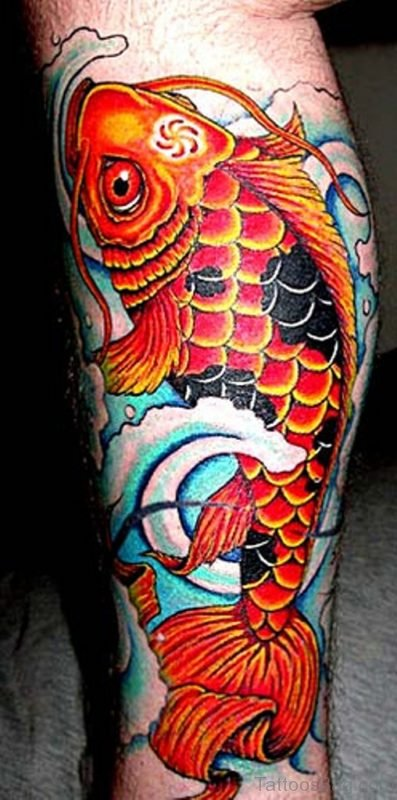 Orange Fish Tattoo On Leg
