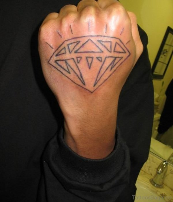Outline Diamond Tattoo