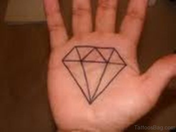 Outline Diamond Tattoo On Hand