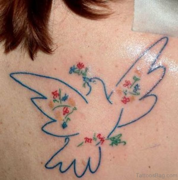 Outline Dove Tattoo On back