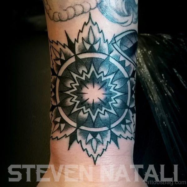Outline Mandala Tattoo On Wrist