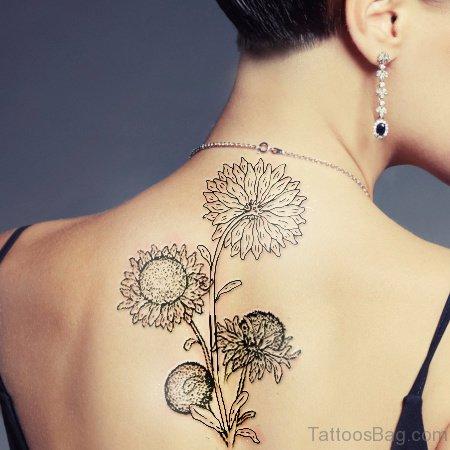 Outline Sunflower Tattoo On Back
