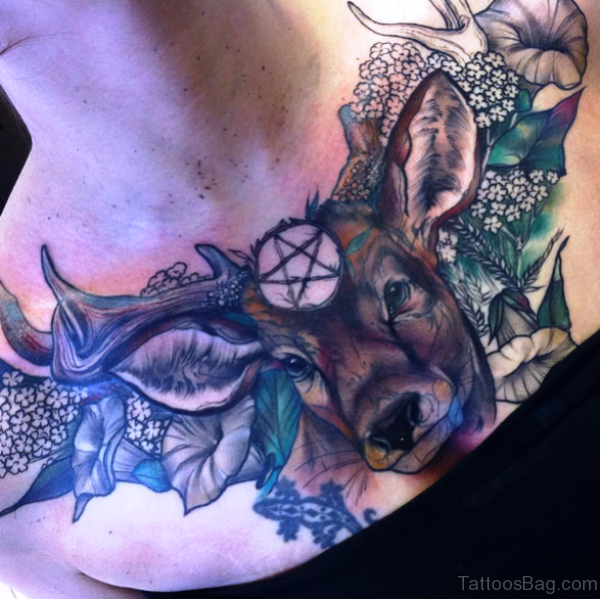 Outstanding Buck Tattoo On Chest