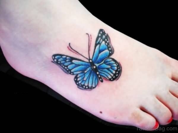 Outstanding Butterfly Tattoo On Foot