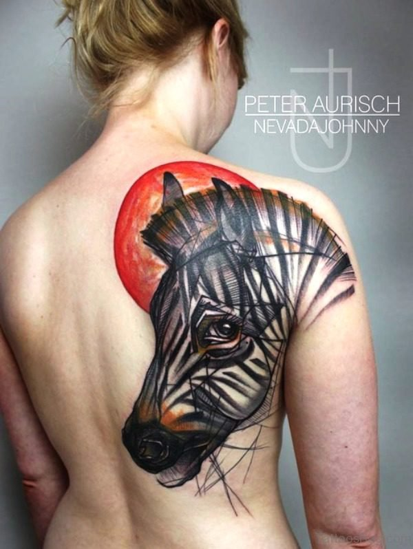 Outstanding Horse Tattoo On Back Shoulder