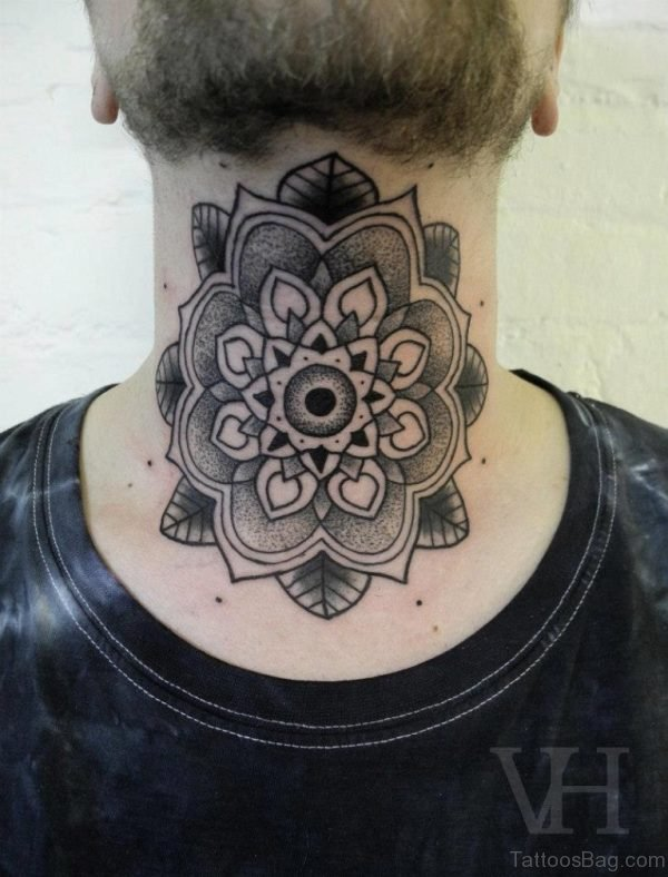 Outstanding Mandala Neck Tattoo Design