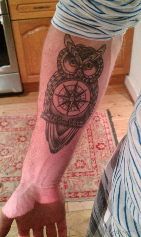 Owl And Compass Tattoo On Arm