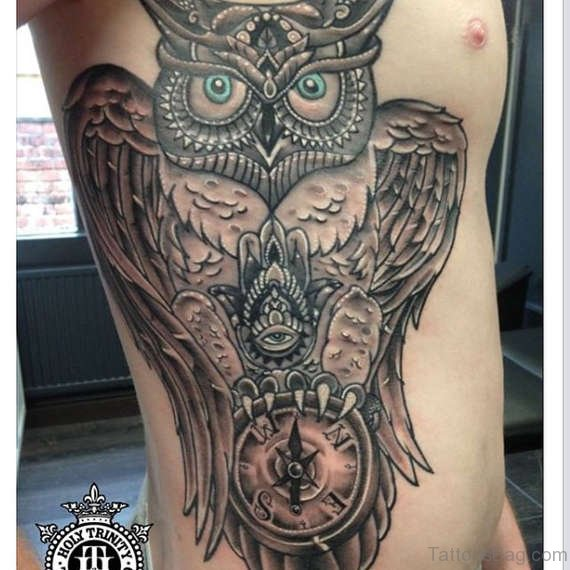 Owl And Compass Tattoo On Rib