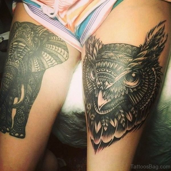Owl And Elephant Tattoo On Thigh