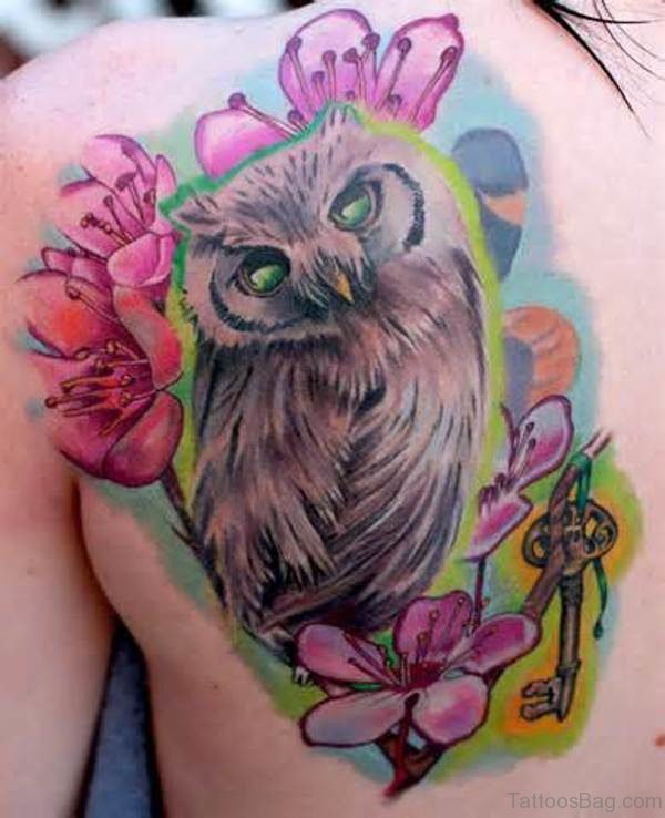 Owl And Flowers Tattoo On Shoulder