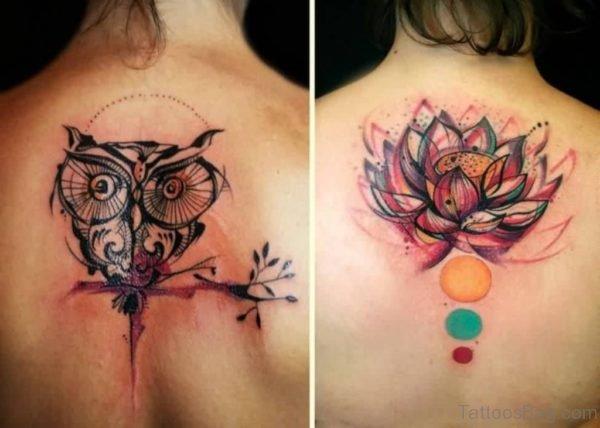 Owl And Lotus Tattoo