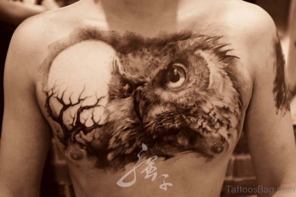 Owl And Moon Tattoo On Chest