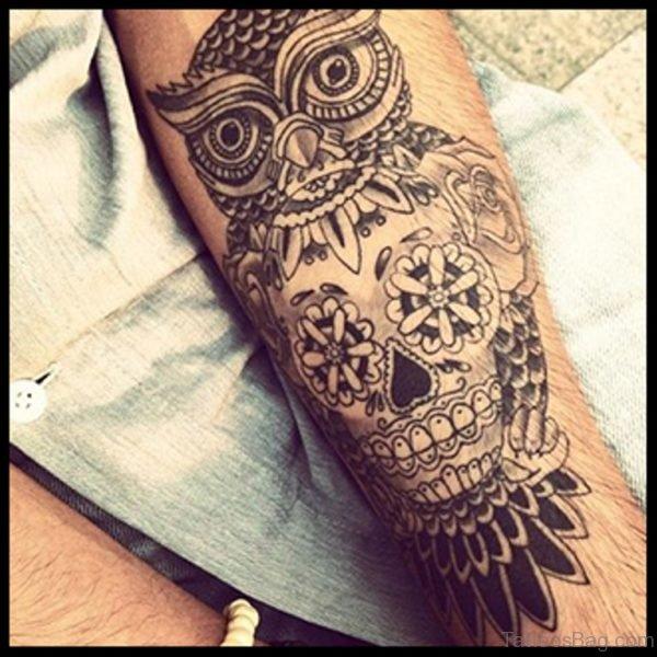 Owl And Skull Tattoo