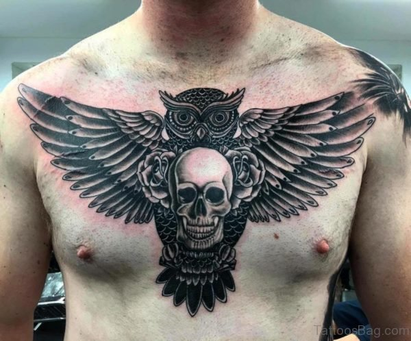 Owl And Skull Tattoo On Chest
