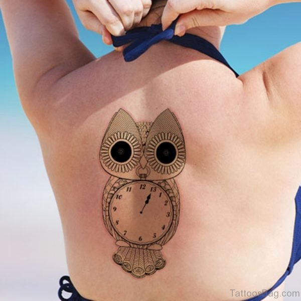 Owl Clock Tattoo