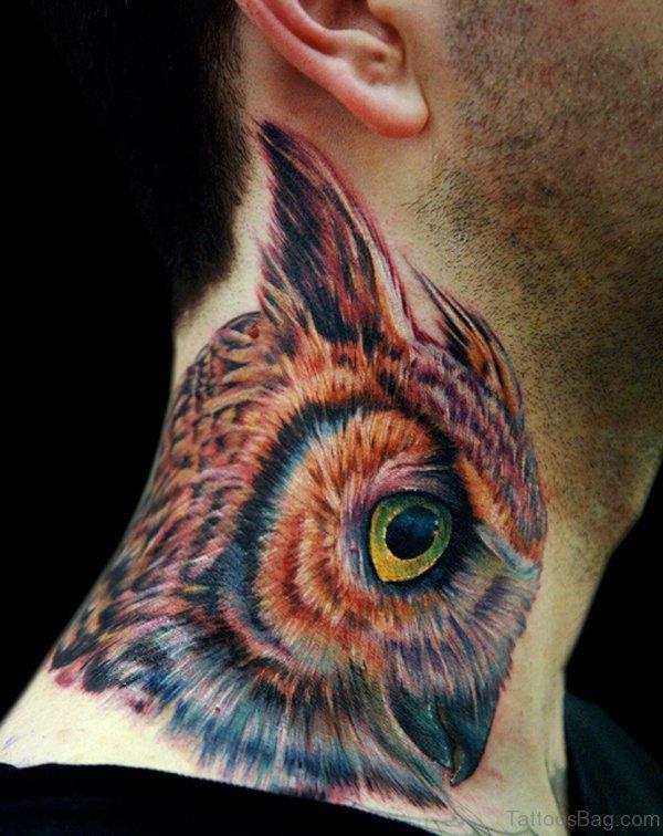Owl Eye Tattoo On Neck