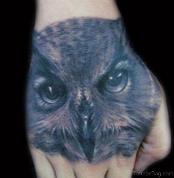 Owl Face Tattoo On Hand
